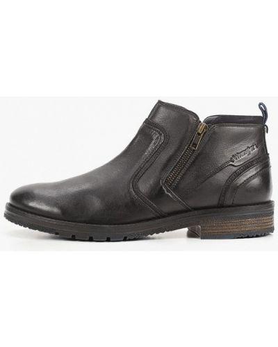 Черные кожаные ботинки Wrangler