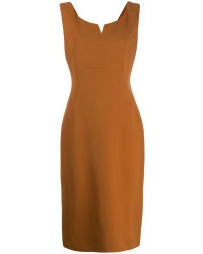 Желтое платье-футляр с вырезом Antonelli
