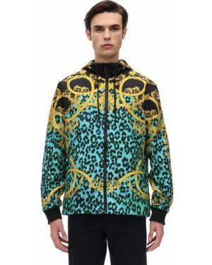 Kurtka z kapturem z guzikami z nadrukiem Versace Jeans Couture