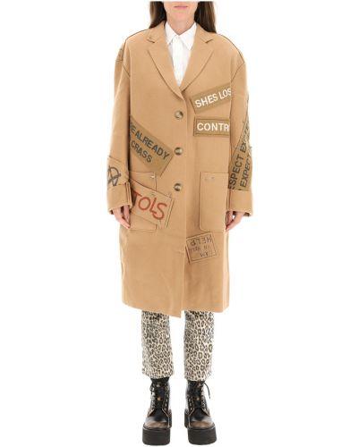Brązowy płaszcz wełniany R13