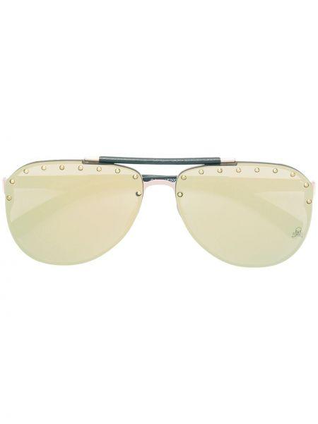 Złote czarne okulary miejskie Philipp Plein
