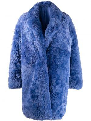 С рукавами синее пальто классическое с лацканами из овчины Liska