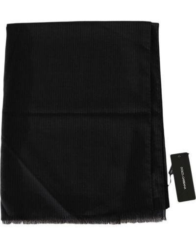 Szary szalik wełniany w paski Dolce And Gabbana