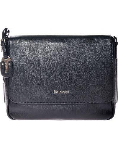 Кожаная сумка текстильная черная Baldinini