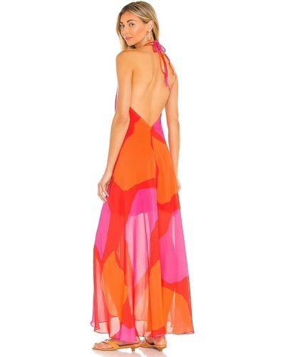 Платье с подкладкой фуксия классическое из крепа Vix Swimwear