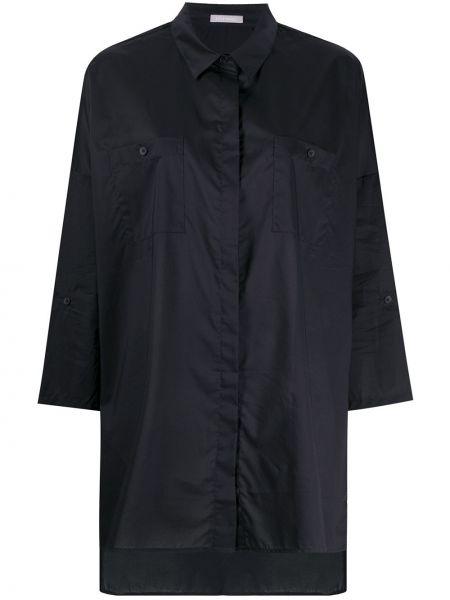 Черная хлопковая рубашка с воротником 12 Storeez