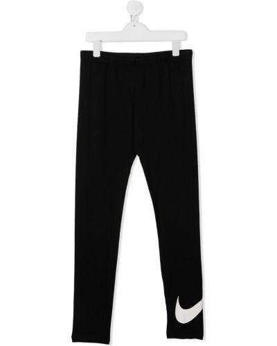 Хлопковые черные леггинсы эластичные Nike Kids