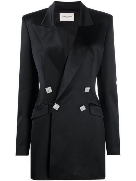Шерстяной черный удлиненный пиджак двубортный Giuseppe Di Morabito