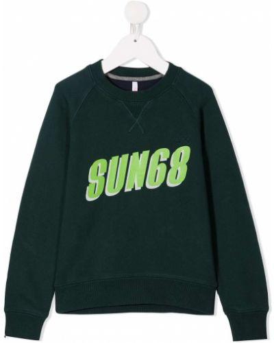 Хлопковый зеленый с рукавами свитшот Sun 68