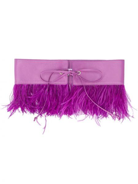 Кожаный фиолетовый ремень с поясом с перьями Attico