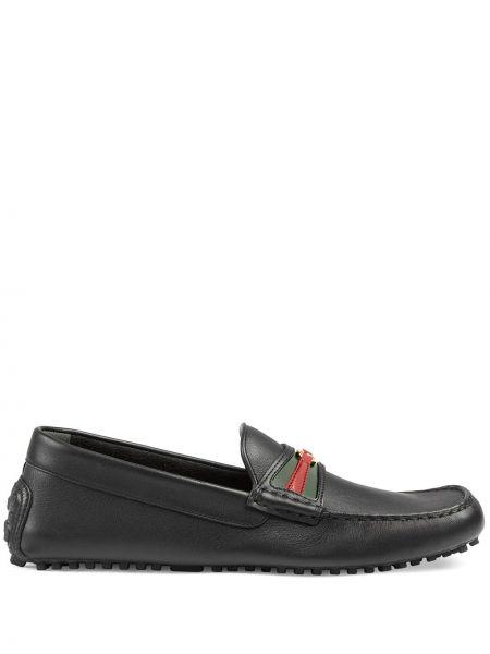 Czarny loafers z prawdziwej skóry Gucci