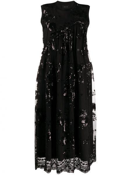 Платье миди с пайетками черное Simone Rocha
