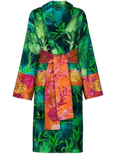 Bawełna zielony szlafrok z długimi rękawami z kieszeniami Versace