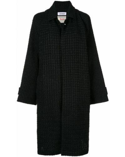 Черное пальто классическое с капюшоном с воротником Coohem
