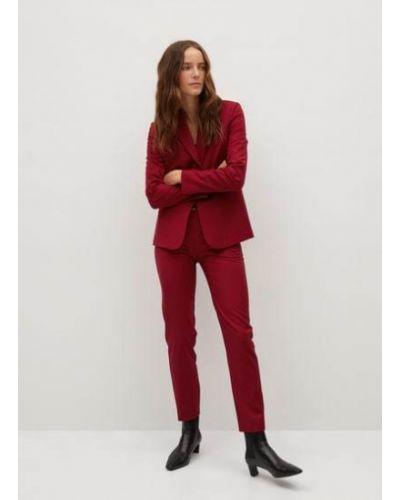 Красные костюмные классические брюки с поясом из вискозы Mango