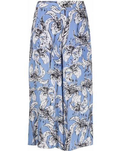 Свободные синие укороченные брюки с поясом Liu Jo