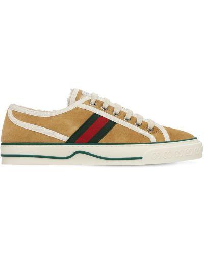 Sneakersy sznurowane koronkowe zamszowe Gucci