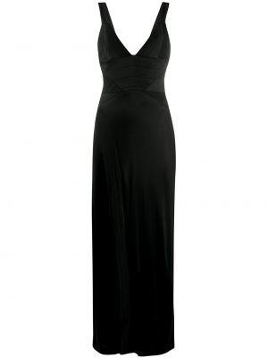 Prążkowana satynowa czarna sukienka Galvan