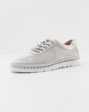 Кожаные серебряные кожаные туфли Vensi