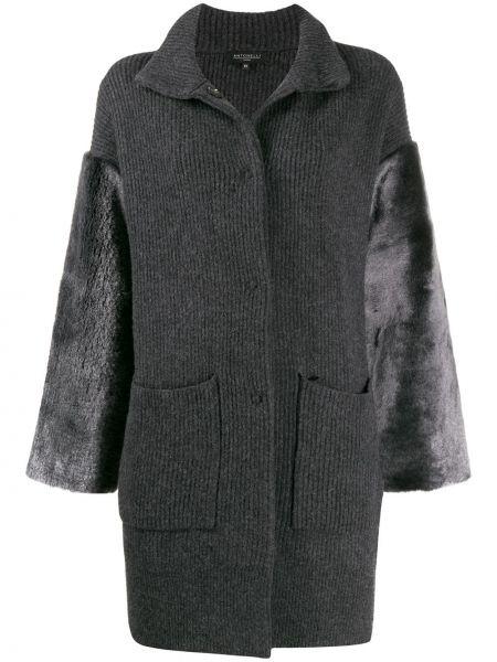 Серое шерстяное вязаное пальто Antonelli