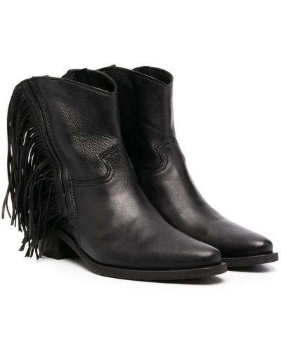 Кожаные черные ботинки на каблуке с бахромой на каблуке Cinzia Araia Kids