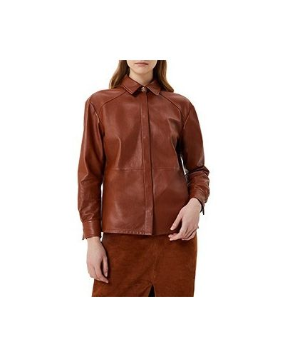 Коричневая кожаная куртка Liu Jo
