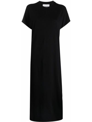 Хлопковое черное платье макси с короткими рукавами Iceberg