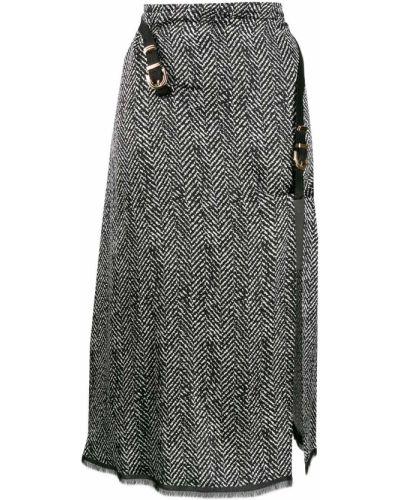 Юбка миди с завышенной талией черная Versace