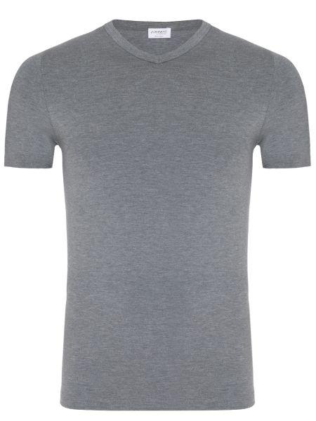 Хлопковая серая базовая футболка с круглым вырезом Zimmerli
