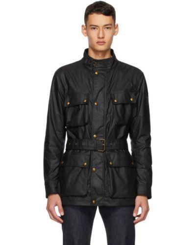 Czarny długa kurtka z kieszeniami z mankietami z łatami Belstaff