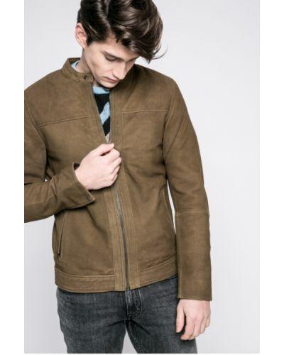 Кожаная куртка легкая зеленая Casual Friday
