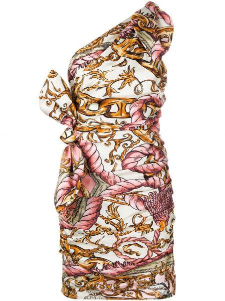 Облегающее розовое шелковое платье мини Moschino