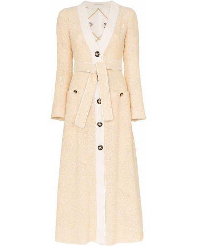 Платье с поясом на пуговицах с V-образным вырезом Alessandra Rich