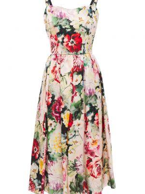 С ремешком шелковое розовое платье миди Dolce & Gabbana