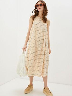 Прямое бежевое платье А-силуэта Ichi
