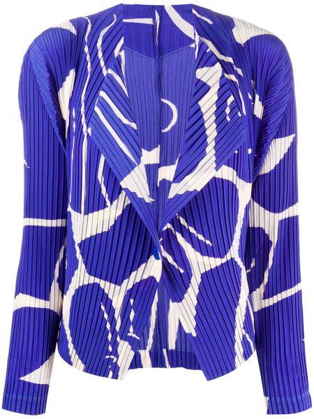 Синий пиджак с воротником на пуговицах Issey Miyake