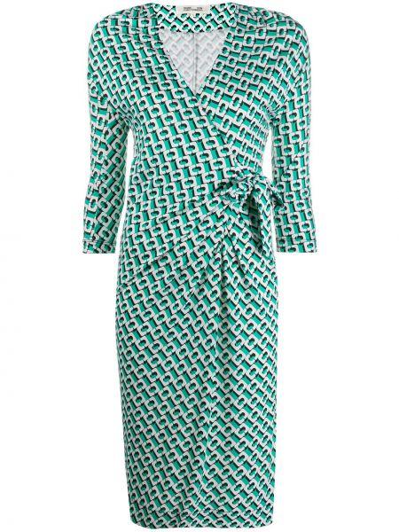С рукавами зеленое шелковое платье с запахом Dvf Diane Von Furstenberg