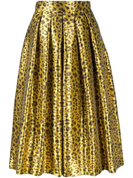 Żółta spódnica z wysokim stanem z printem Ultrachic