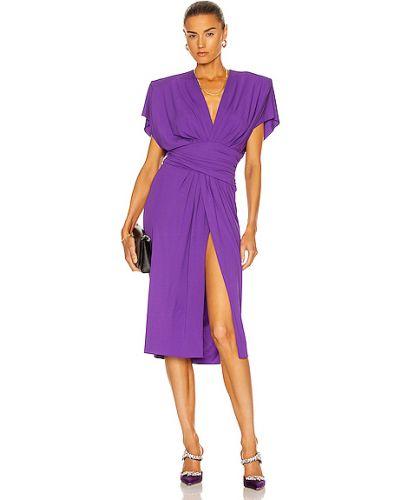 Fioletowa sukienka midi z wiskozy do pracy Alexandre Vauthier