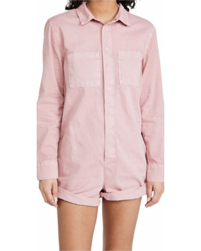 Розовый джинсовый комбинезон с карманами с длинными рукавами One Teaspoon