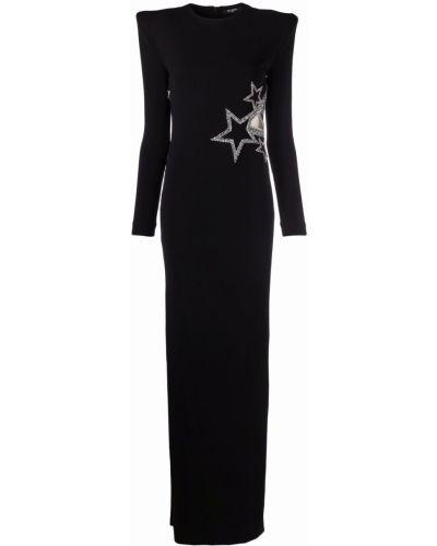 Черное вечернее платье длинное Balmain