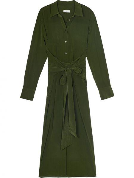 Шелковое классическое зеленое платье миди с воротником Equipment