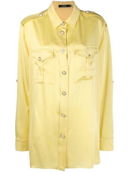 Желтая классическая рубашка с длинными рукавами с воротником Amen.