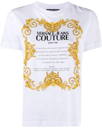 Прямая белая футболка с вырезом Versace Jeans Couture