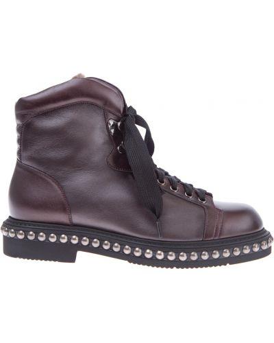 Ботинки на шнуровке с заклепками кожаные Santoni