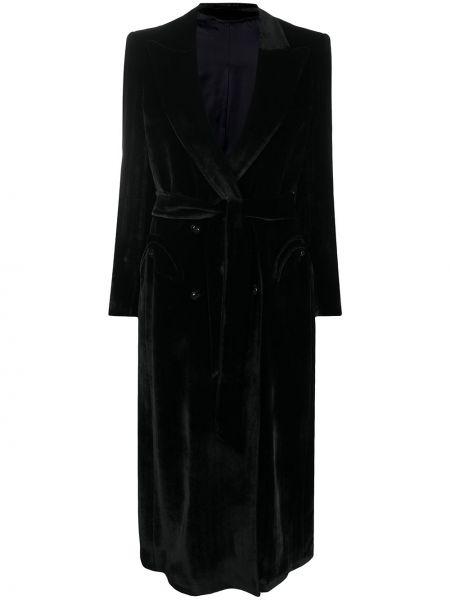 Бархатное черное длинное пальто с накладными карманами с лацканами Blazé Milano