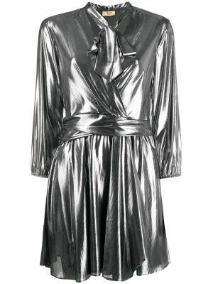 Серебряное плиссированное с рукавами платье мини Liu Jo