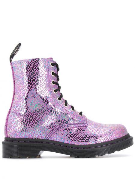 Кожаные сапоги на шпильке на каблуке на шнуровке Dr. Martens
