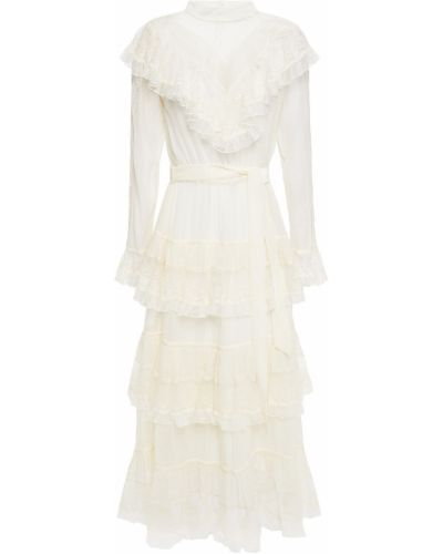 Кружевное бархатное платье миди айвори Zimmermann