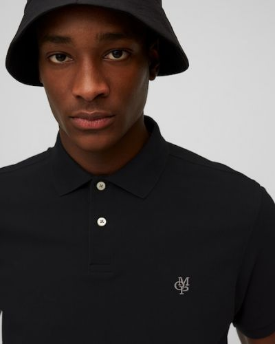Czarna koszulka z haftem Marc O Polo